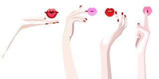 Pittura astratta dell'acquerello delle mani femminili con le sue labbra Immagine Stock