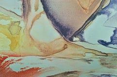Pittura astratta dell'acquerello, macro primo piano dipinto del tessuto di seta del fondo orizzontale strutturato della tela, tur Immagini Stock Libere da Diritti