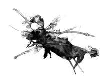 Pittura astratta dell'inchiostro, modello nero artistico illustrazione di stock