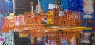Pittura astratta della città Fotografia Stock Libera da Diritti