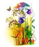 Pittura astratta della pianta dei fiori royalty illustrazione gratis