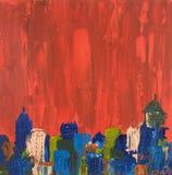 Pittura astratta di paesaggio urbano dell'olio Fotografie Stock Libere da Diritti