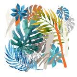 Pittura astratta fresca Illustrazione moderna dell'acquerello illustrazione di stock
