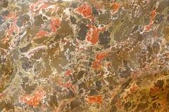 Pittura astratta Verniciatura di marmo di effetto Pitture ad olio rosse e verdi miste Fotografia Stock