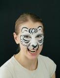 Pittura bianca del fronte della tigre Fotografia Stock Libera da Diritti