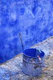 Pittura blu, parete blu Fotografia Stock