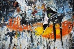 Pittura casuale di struttura del collage del fondo sulla parete Fotografia Stock Libera da Diritti