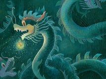pittura cinese del drago Fotografie Stock Libere da Diritti