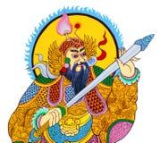 Pittura cinese del guerriero di tradizione sulla parete Fotografia Stock Libera da Diritti