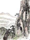 Pittura cinese dell'alta montagna Fotografie Stock