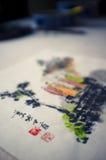 Pittura cinese dell'inchiostro Fotografia Stock