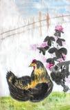 Pittura cinese dell'inchiostro di colore di acqua di calligrafia di un pollo Fotografie Stock