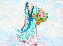 Pittura cinese di tradizione sulla parete cinese del tempiale Fotografia Stock Libera da Diritti