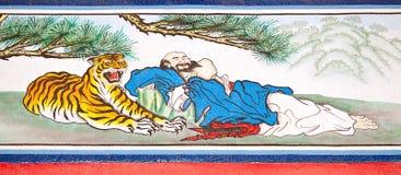 Pittura cinese di tradizione sulla parete cinese del tempiale Fotografia Stock