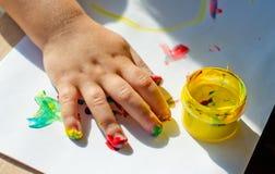 Pittura con le dita Immagini Stock