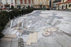 pittura 3d e sculture illusionary in Wieliczka Fotografia Stock Libera da Diritti