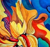 Pittura decorativa del fiore dall'olio su tela Fotografia Stock Libera da Diritti