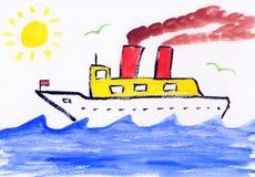 Pittura dei bambini - illustrazione - formazione Fotografia Stock
