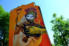 Pittura dei graffiti di INTI a Oslo Fotografia Stock