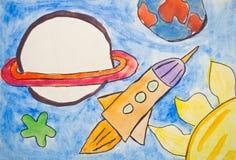 Pittura del bambino dell'universo con i pianeti e le stelle Fotografie Stock Libere da Diritti