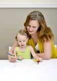 Pittura del bambino e della madre Fotografia Stock Libera da Diritti