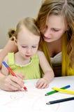Pittura del bambino e della madre Immagini Stock Libere da Diritti