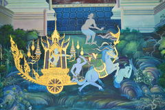 Pittura del Buddha sulla parete in tempiale immagine stock