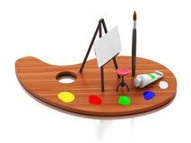 pittura del cavalletto 3d e tavolozza di colore royalty illustrazione gratis