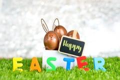 Pittura del coniglio sull'uovo di Pasqua rosa dell'oro in scatola bianca e nello spazio in bianco di legno Immagine Stock