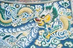 Pittura del drago in tempiale cinese Fotografie Stock Libere da Diritti