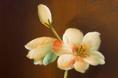 Pittura del fiore sul legno Fotografie Stock Libere da Diritti