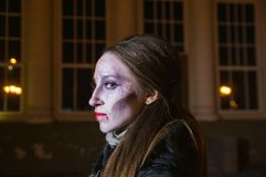 Pittura del fronte per Halloween Fotografie Stock Libere da Diritti