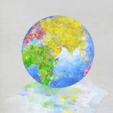 Pittura del globo sul documento Fotografia Stock Libera da Diritti