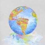 Pittura del globo sul documento Fotografia Stock