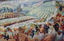 Pittura del mosaico di un campo con le viti immagine stock libera da diritti