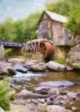 Pittura del mulino del grano da macinare dell'insenatura della radura fotografie stock libere da diritti