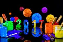Pittura del nuovo anno 2017 con l'inchiostro del plastisol Fotografia Stock
