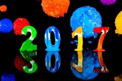 Pittura del nuovo anno 2017 con l'inchiostro del plastisol Fotografie Stock