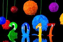 Pittura del nuovo anno 2017 con l'inchiostro del plastisol Fotografia Stock Libera da Diritti