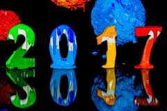Pittura del nuovo anno 2017 con l'inchiostro del plastisol Immagini Stock Libere da Diritti