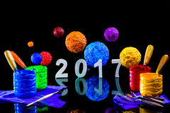Pittura del nuovo anno 2017 con l'inchiostro del plastisol Fotografie Stock Libere da Diritti