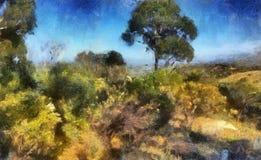 Pittura del paesaggio Fotografia Stock Libera da Diritti