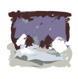 Pittura del paesaggio di inverno Fotografia Stock Libera da Diritti