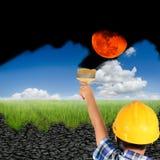 Pittura del ragazzo sulla terra di siccità immagini stock libere da diritti