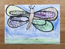 Pittura del ` s dei bambini - libellula sopra watter Fotografie Stock Libere da Diritti