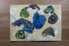 Pittura del ` s dei bambini - lumache di mare nell'ambito di watter Fotografia Stock Libera da Diritti