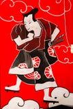 Pittura del samurai su una parete Fotografia Stock Libera da Diritti