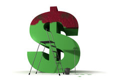 Pittura del segno del dollaro nel verde Fotografie Stock
