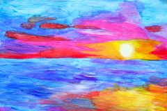 Pittura del tramonto variopinto fotografie stock