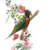 Pittura dell'acquerello con l'uccello ed i fiori, su fondo bianco illustrazione di stock